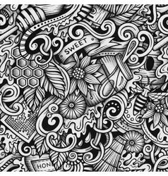 Cartoon hand-drawn doodles Honey seamless pattern vector image vector image