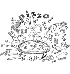 Digital of pizza and ingredients vector image