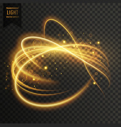 golden transparent light effect with curve trails vector image vector image
