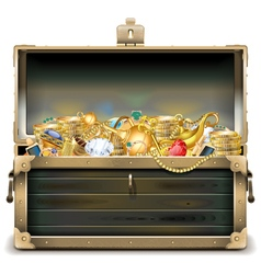 Old Wooden Chest with Gold vector image
