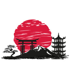 abstract card with japanese landscape vector image