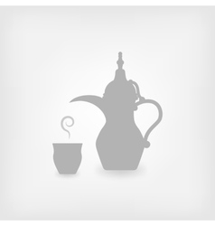 Arabic coffee white background vector image vector image