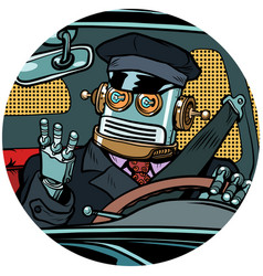 driver robot drone pop art avatar character icon vector image