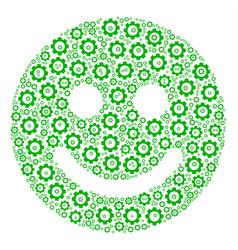 Glad smile composition of cog vector