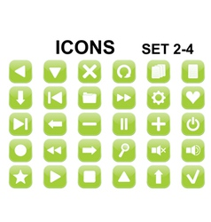 green rounded square icons vector image