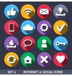 Internet and social icons with long shadow set 6 vector