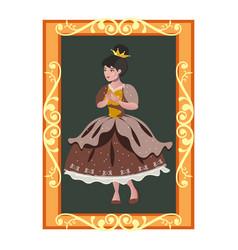 princess portrait in golden frame vector image