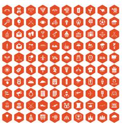 100 arrow icons hexagon orange vector