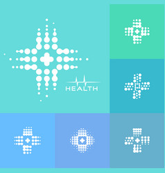 Abstract halftone medical cross icon modern vector