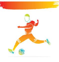 Abstract soccer player hitting ball vector