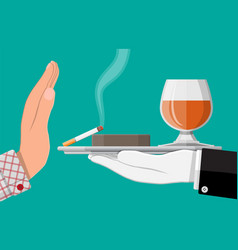 alcohol and tobaccco abuse concept vector image