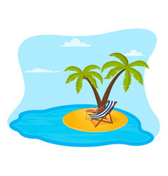 an island on it palm trees a deck vector image
