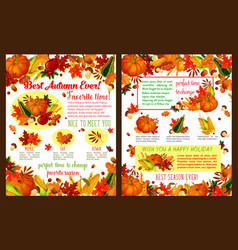 autumn fall time wishes posters vector image
