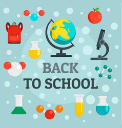 back to school chemistry background flat style vector image