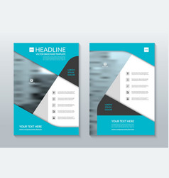 Blue annual report brochure layout template A4 vector image vector image