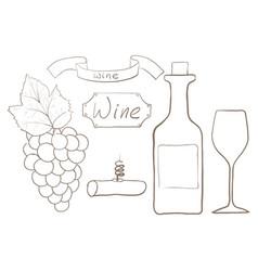 bottle wine set vector image