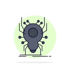 Bug insect spider virus app flat color icon vector