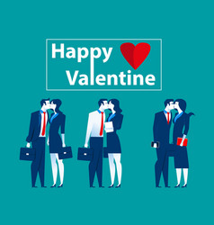 business people kiss in valentine vector image