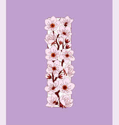Capital letter i patterned with cherry blossom vector
