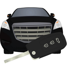 car key in front of car car buying concept vector image