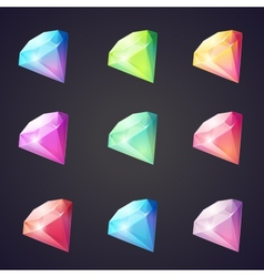 Cartoon image of gems and diamonds of different vector image
