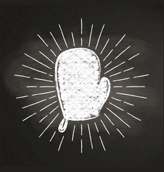 chalk silhoutte of a mitten with vintage sun rays vector image