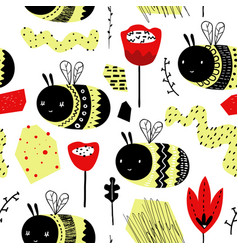 childish seamless pattern with cute bumblebee vector image