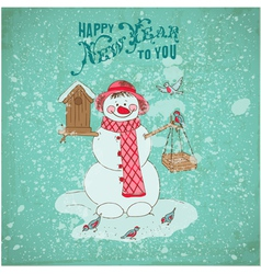 Christmas Card - Snowman and Birds vector image