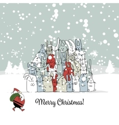Christmas card with santa and rabbit family vector image