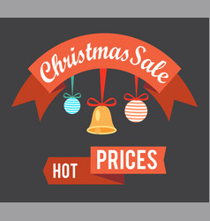 christmas sale hot prices promo poster with balls vector image