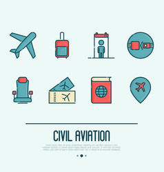 Civil aviation thin line icons set vector