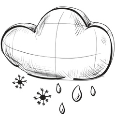 Cloud with snowflakes and rain drops weather icon vector image