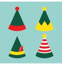Collection fun holiday elf hat vector