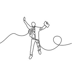 continuous line student jumping for happy vector image