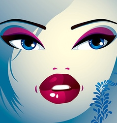 Coquette woman eyes and lips stylish makeup and vector image