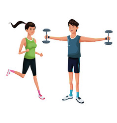 couple sport fitness training vector image