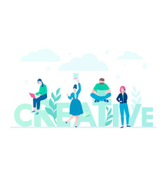 creative group - flat design style colorful vector image