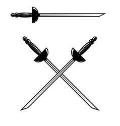 crossed swords isolated on white background vector image