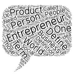 Define entrepreneur text background wordcloud vector