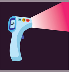 Digital contactless thermometer with infrared vector