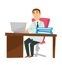 doctor at workplace with laptop therapist or vector image