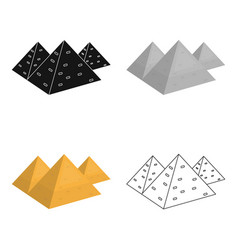 Egyptian pyramids icon in cartoon style isolated vector