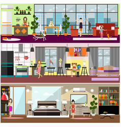 Family characters at home flat poster set vector