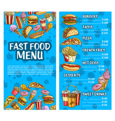 fast food burger and drink menu sketch banner set vector image