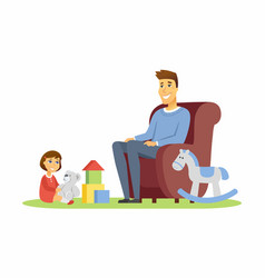 father and daughter - cartoon people characters vector image
