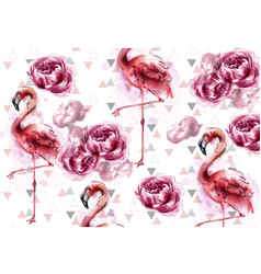 flamingo and peony flowers watercolor background vector image