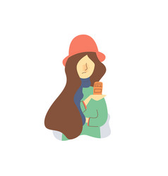 flat cartoon woman in red hat holding pill vector image