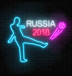 Football world cup 2018 in russia neon glowing vector