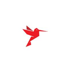 Geometric red hummingbird logo vector