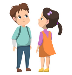girl and boy standing together after school lesson vector image